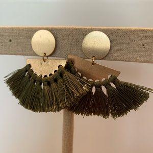 Olive Green & Gold Fringe Tassel Earrings